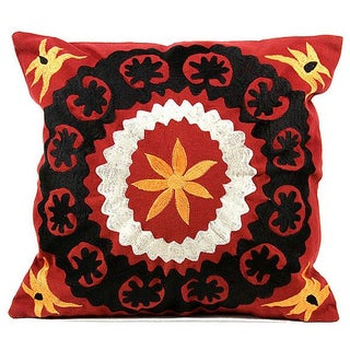 Suzani Small Red Pillow