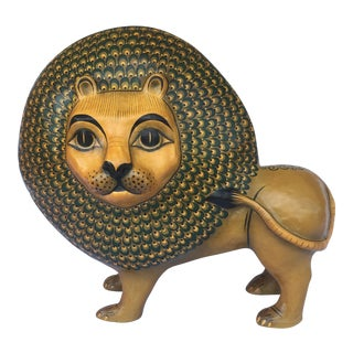 Sermel Folk Art Paper Mache Lion For Sale