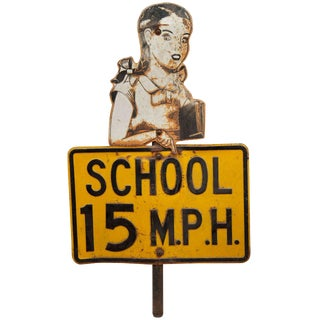 Painted Sheet Metal School Traffic Sign For Sale