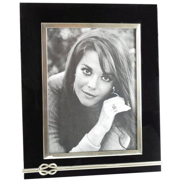 1970s Mid-Century Modern Black Lucite and Chrome Picture Photo Frame For Sale - Image 5 of 5