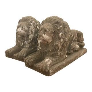 Vintage Mid Century Lion Statues- A Pair For Sale