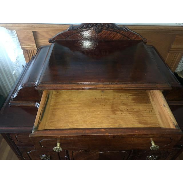 Antique 1930's Burled Walnut Dresser Chest Bureau With Mounted Glove Box For Sale - Image 11 of 13