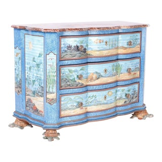 Aquatic Painted Chest For Sale
