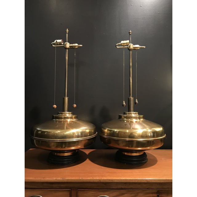 1960s Monumental Brass Lamps Marbro Wildwood Era Space-Age / Asian - a Pair For Sale - Image 13 of 13