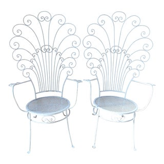 Vintage Peacock White Iron Garden Chairs - a Pair For Sale