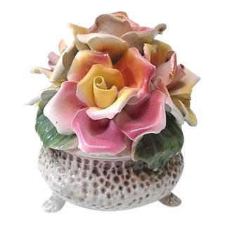 Italian Ceramic Floral Topiary Centerpiece