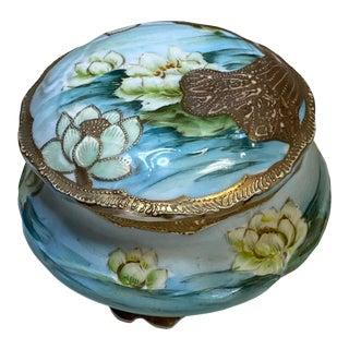 Japanese Porcelain Gilt Gold Beaded Moriage Dresser Box For Sale