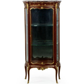 1880s Antique French Louis XV Style Ormolu Mounted Kingwood Vitrine Cabinet Preview