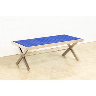 Mid Century Milo Baughman Style Chrome and Blue Strap Bench Preview