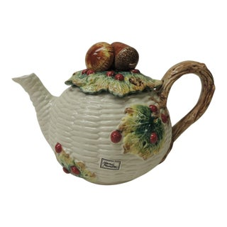 Fitz and Floyd White Bone China Harvest Teapot For Sale