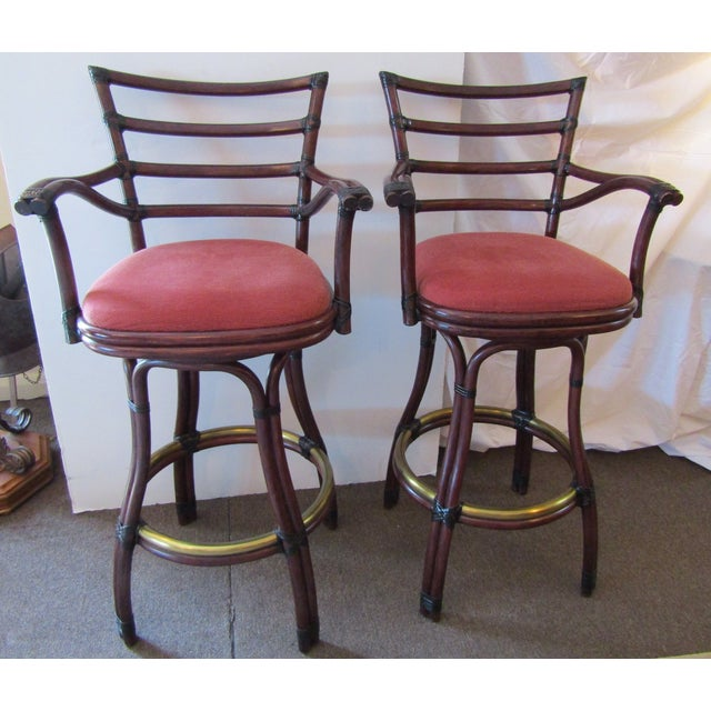 Bamboo 21st Century Vintage McGuire Galleria Bamboo Swivel Bar Stools- a Pair For Sale - Image 7 of 7