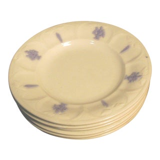 1912 Antique Adderlys English Bone China Blue Raised Urns on White Salad Plates - Set of 6 For Sale