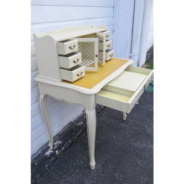French Painted Leather Top Vanity Writing Desk With Flip Up Mirror 1272 For Sale - Image 9 of 13