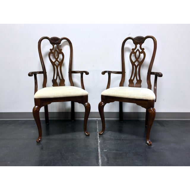 Thomasville Cherry Queen Anne Style Dining Captain's Arm Chairs - Pair For Sale - Image 11 of 12