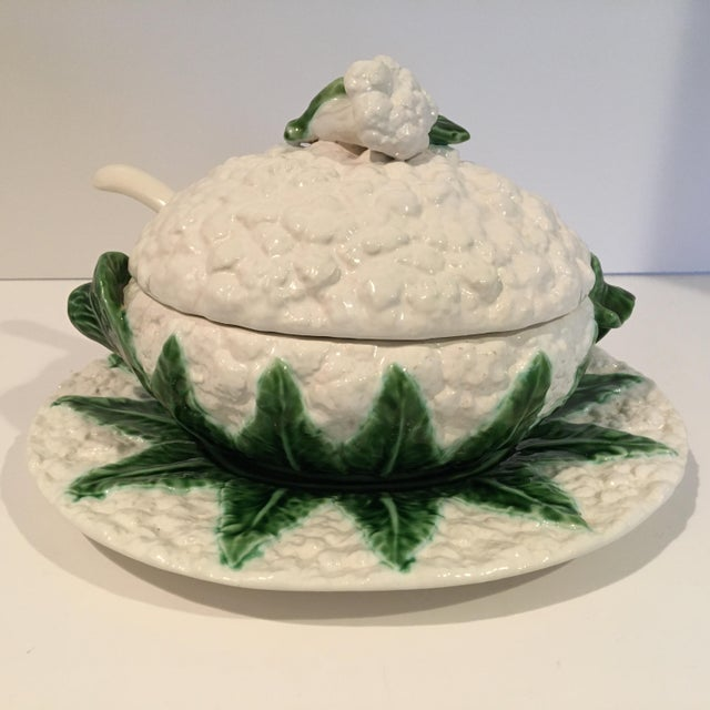 Offering a vintage green and white Cauliflower Tureen with Lid, Under Platter & Ladle. This lovely detailed set was Made...