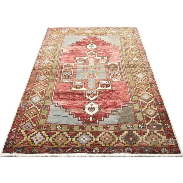 """1960s 1960s Turkish Oushak Rug 3'2"""" X 5'5"""" For Sale - Image 5 of 7"""