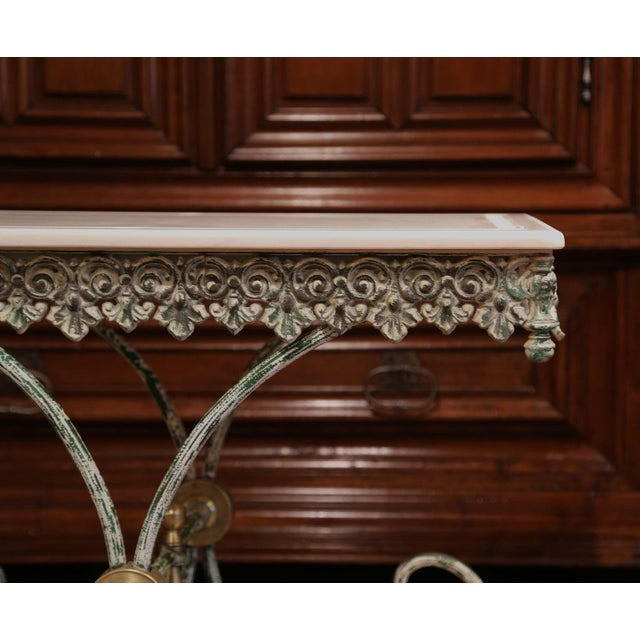 Metal Painted French Iron Butcher or Pastry Table With Marble Top and Brass Finials For Sale - Image 7 of 12