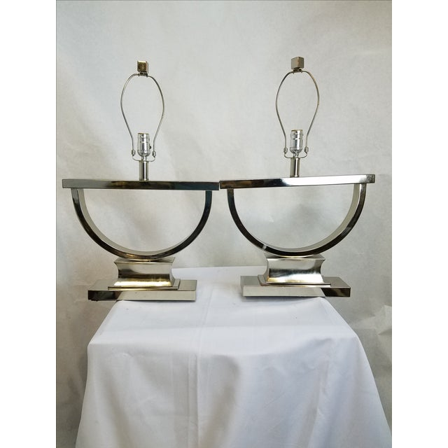 Chrome Modern U-Shaped Lamps - A Pair - Image 2 of 5