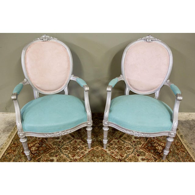 Artist Repainted Pastel Fauteuil Chairs- A Pair - Image 2 of 7