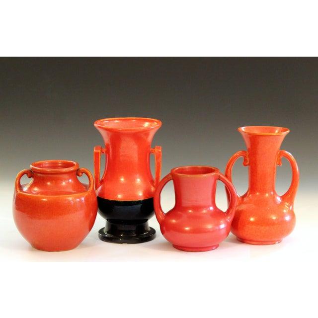 Awaji Pottery Art Deco Vase in Crystalline Chrome Red Glaze For Sale - Image 9 of 10