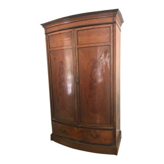 1900s Vintage English Satinwood Armoire - Linen Press For Sale