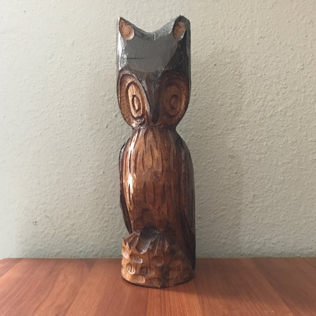 Wood Vintage Hand Carved Handcrafted Wood Owl Figurine For Sale - Image 7 of 7