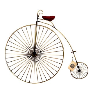 Vintage Curtis Jere Penny Farthing Brass Bicycle Sculpture For Sale