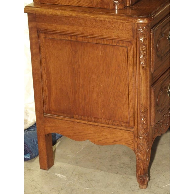 Carved Oak Wedding Cabinet and Chest of Drawers From Normandy, Early 1900s For Sale - Image 4 of 13