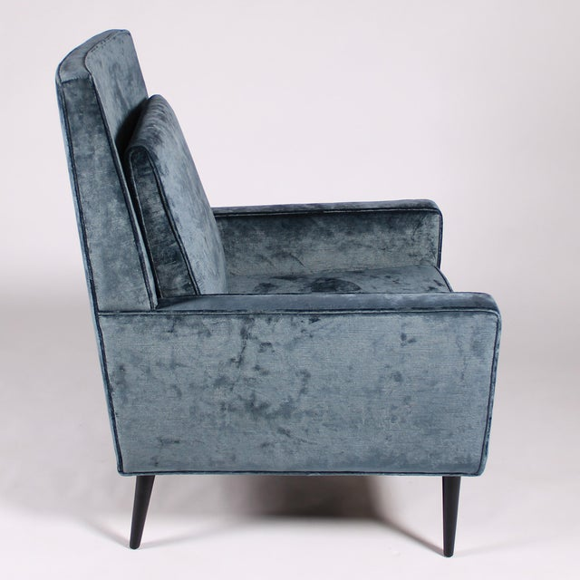1950s 1950s Blue Velvet Lounge Chair and Ottoman For Sale - Image 5 of 11