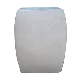 Off White Square Chinese Ceramic Garden Stool For Sale