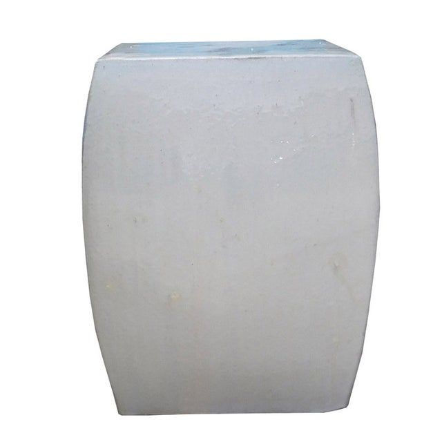 Off White Square Chinese Ceramic Garden Stool - Image 1 of 5