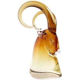 Vintage Mid Century Archimede Seguso Murano Sommerso Golden Amber Italian Glass Ram Figurine For Sale