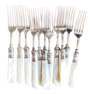Set of 12 Antique Sterling and Mother of Pearl Handled Forks For Sale