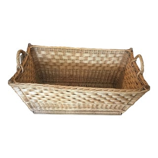 French Woven Wicker Basket For Sale