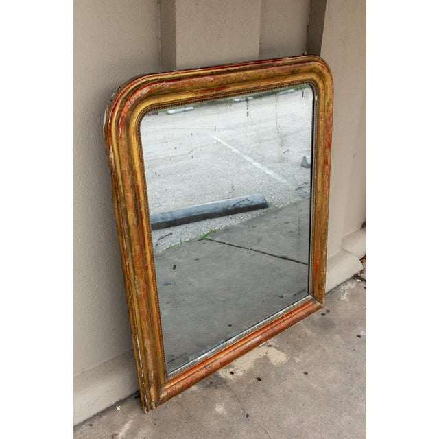 French Antique French Gilt Louis Philippe Mirror With Floral Decoration For Sale - Image 3 of 13