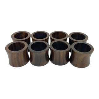 Indonesian Fruitwood Napkin Rings - Set of 8 For Sale