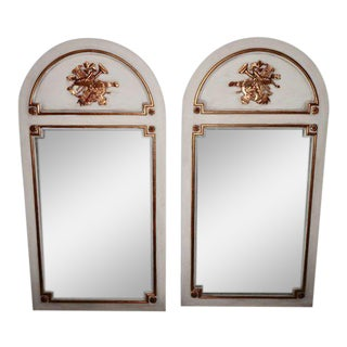 French Louis XVI Painted and Parcel Gilt Trumeau Mirrors - a Pair For Sale