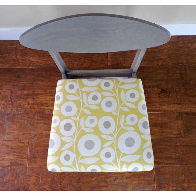Wood Bassett Mid-Century Modern Retro Pattern Fabric Upholstered Dining Chairs - a Pair For Sale - Image 7 of 8