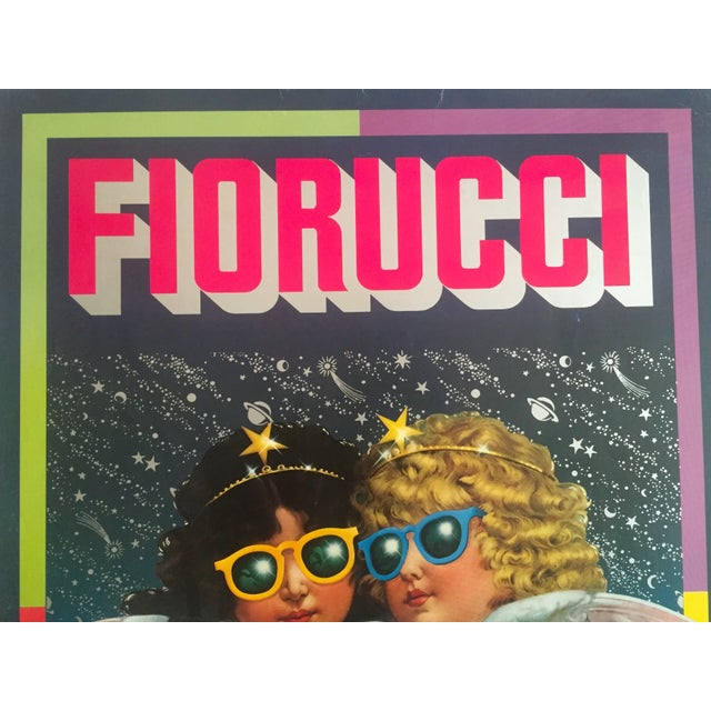 "Vintage 1980 Rare Fiorucci New Wave Italian Fashion Lithograph Print Poster ""Cherub Angels"" For Sale - Image 5 of 11"