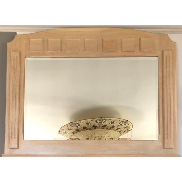 French Country French Country 2 Piece Oak Fireplace Mantel With Oak Framed Mirror For Sale - Image 3 of 8