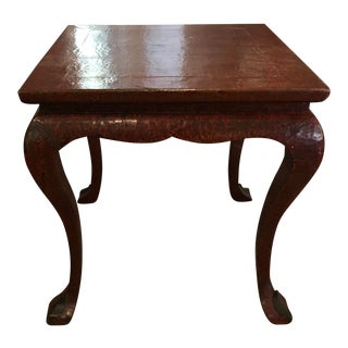 Antique Red Lacquer Designer Card or Game Table For Sale