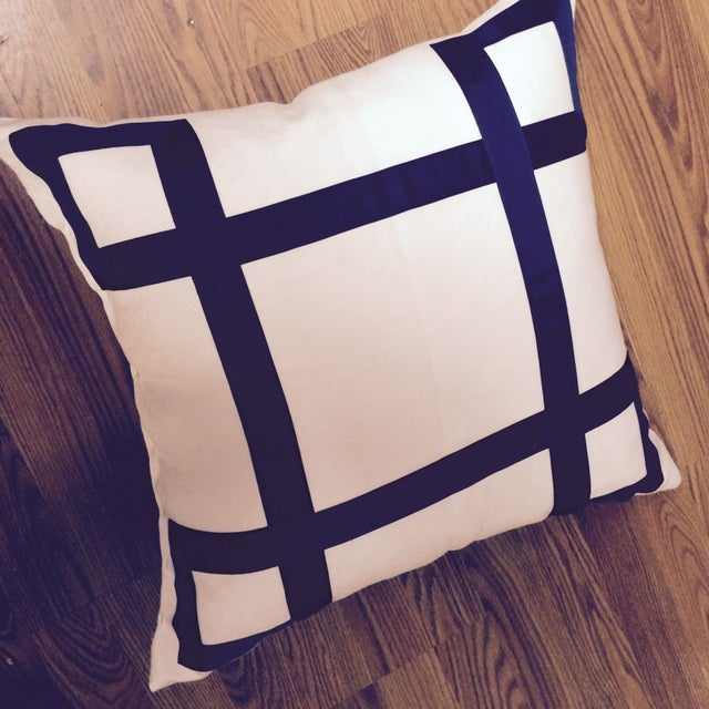Navy Ribbon Pillow - A Pair - Image 2 of 4