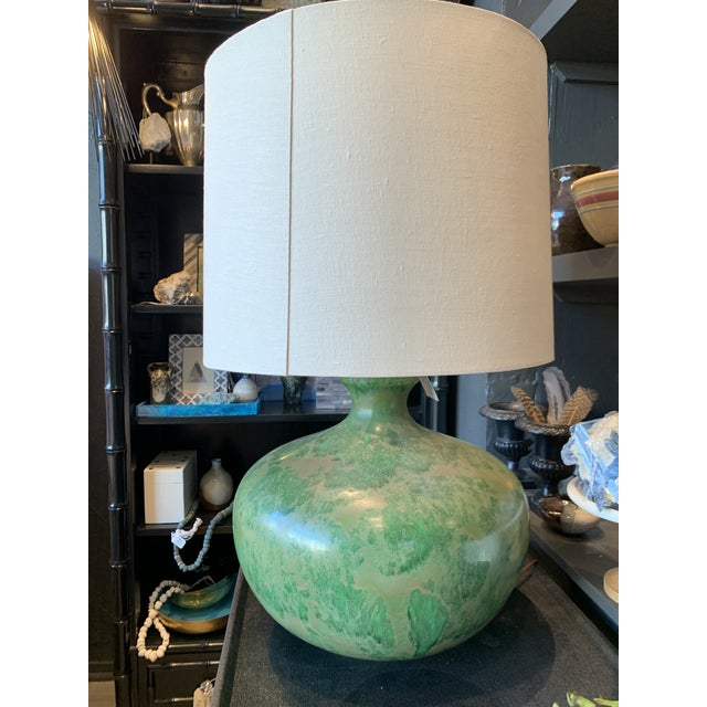 Mid-Century Modern - Green Hand Glazed Ceramic Lamp With Linen Shade For Sale - Image 4 of 10