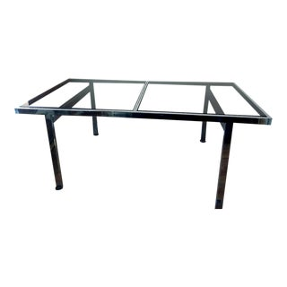 Smoked Glass & Chrome Baughman Extending Dining Table