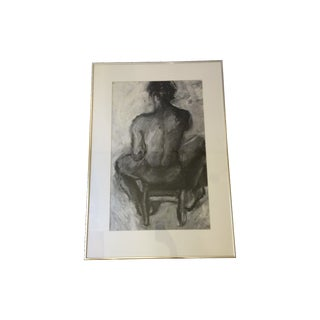 Black & White Seated Male Nude Study Drawing For Sale