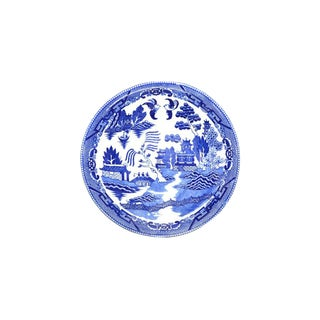 Vintage BlueChinoiserie Serving Bowl For Sale