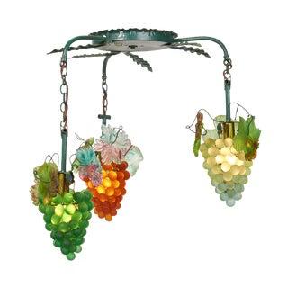 1950s Art Nouveau Murano Glass Grape Cluster Chandelier