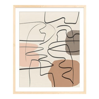 Mid-Century Scandinavian Style Abstract in Muted Earth Tones Unframed Print For Sale