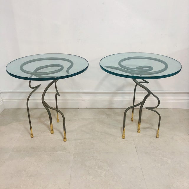 Studio Steel and Gold Leaf Post Modern Sculptural Twist End Tables - a Pair For Sale - Image 9 of 9