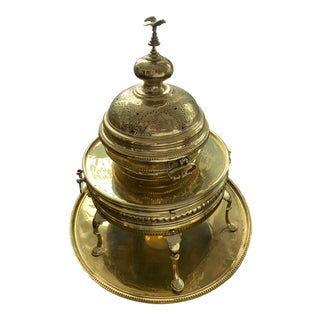 Mid 20th Century Brass Hand-Forged Brazier With Domed Lid Capped With Eagle Finial - a Pair For Sale